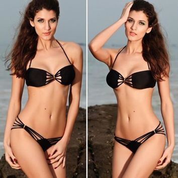 Bikini set 2pcs Pad Fringe Strap Dolly Bikini Swimwear Bathing Suit Push Up Brazilian