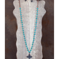 West and Co. Women's Extra Long Turquoise Stone /Copper Cross Toggle Necklace
