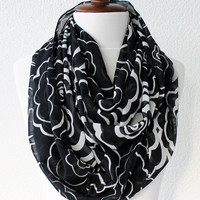 Rose Print Infinity Scarf - Loop Scarf - Circle Scarf - Cowl Scarf - Soft and Lightweight