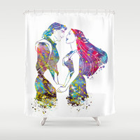 Pocahontas and John Smith Love Shower Curtain by Bitter Moon