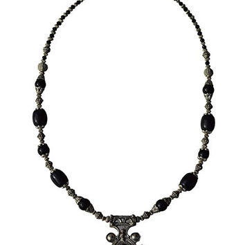 Morocan Jewerly Berber Necklace Arabic Black Beads With Pendant