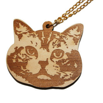 purr purr wooden cat necklace