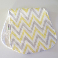 Organic Jumbo Contour Bamboo Burp Cloth Chevron Citron Baby Gift Unisex Gender Neutral