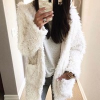 Fireside Shearling Coat in Dusty White