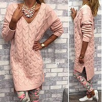 Fashion V-neck knit sweater dress