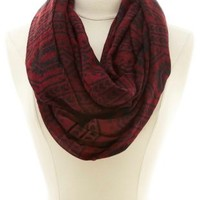 Tribal Print Infinity Scarf by Charlotte Russe - Purple