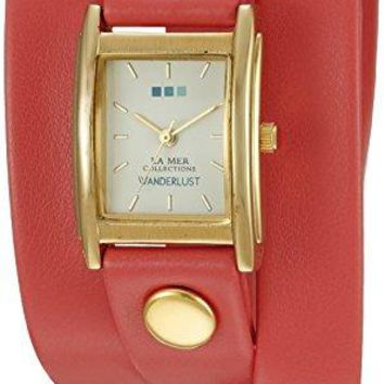 La Mer Collections 00108 Wanderlust GoldTone Watch with Synthetic Leather Bracelet