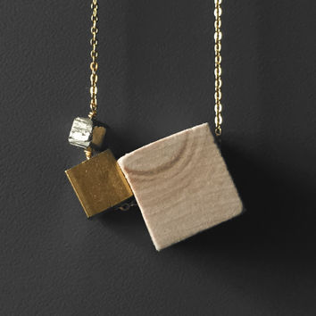 Essential Oil Aromatherapy Diffuser Wood Brass Cube Pyrite Necklace