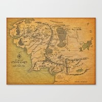 Map of Middle Earth Canvas Print by The Backwater Co