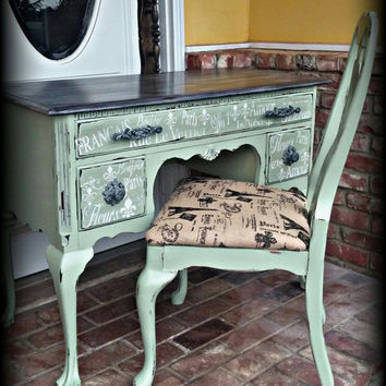 French country desk and chair,  antique desk and chair,  distressed desk, rustic desk, desk, shabby chic desk, queen anne desk, painted desk