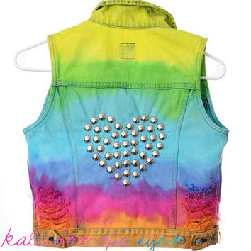 Vintage Ombre Rainbow Dip dyed DESTROYED Blue Denim STUDDED Vest Jacket XS S
