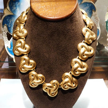 Anne Klein Necklace Vintage New York Fashion Designer Runway Couture Statement Necklace Lion Head Tag Matte Satin Finish Gold Tone Knot