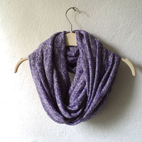 Flecked purple, french lilac, Infinity scarf, cowl, chunky, jersey knit fabric. WIDE. READY To SHIp.