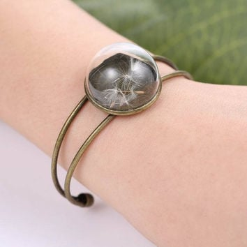Bronze Natural Plant Glass Dandelion Bracelet For Women