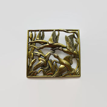 "Art Deco Bronze Brooch, Ducks Flying Over Cattails, Signed LN/25, Designer Little Nemo Vintage 2 1/2"" by 2 1/4"" Figural, Geese"