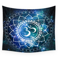Society6 Om Mandala : Blue Green Galaxy Wall Tapestry