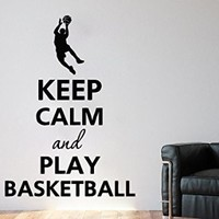 Wall Decals Quote Keep Calm And Play Basketball Decal Player Basketball Vinyl Sticker Family Bedroom Nursery Baby Room Home Decor Art Murals Gym Ms568