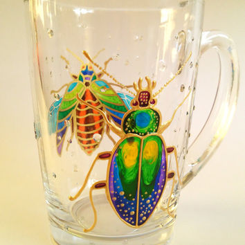 Bug Mug Coffee Mug Painted Glass mug Insect Bugs Mug Unique Coffee Mugs Personalized Bug Mug