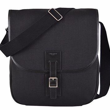 Yves Saint Laurent Ysl Men's Black Canvas Hunting Line Messenger Bag