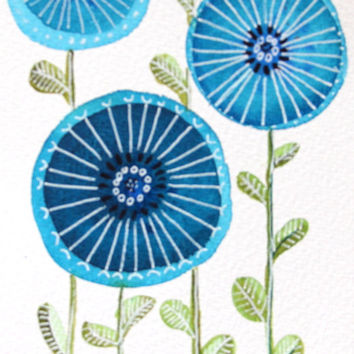 Post Card-wall art-Blue flowers-Room Decor-Modern Art-Minimalistic Art-Gift-Circles