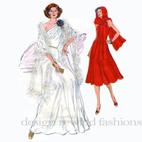 1970s One Shoulder Evening Cocktail Day Sleeveless Fit & Flare DRESS w/ Stole Wrap Bust 34 Vogue 9347 UNCUT Womens Vintage Sewing Patterns