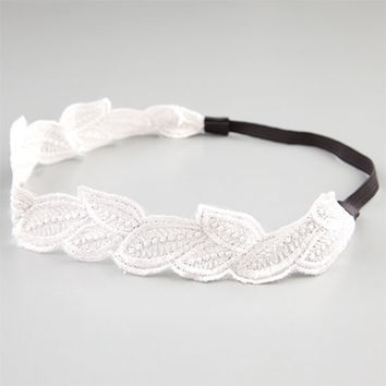 Full Tilt Leaf Crochet Headband Ivory One Size For Women 21036016001