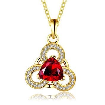 Gold Plated Circular Clover Ruby Pendant Necklace