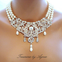 Bridal statement necklace, bridal bib necklace, wedding jewelry, pearl necklace, rhinestone necklace