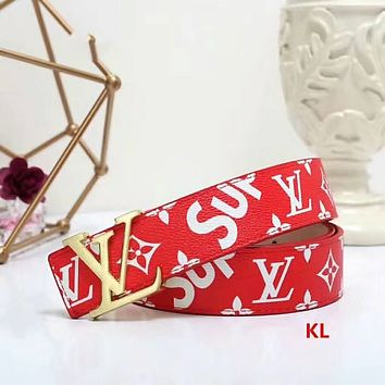 LV & Supreme Tide brand fashion belt belt F-LLBPFSH Red