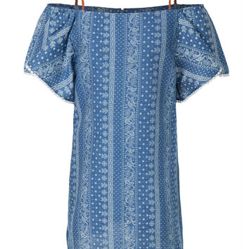LE3NO Womens Summer Paisley Print Off Shoulder Ruffle Denim Dress