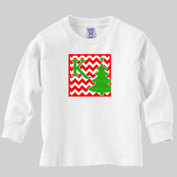 Christmas Red Chevron Kid's Initial Long Sleeve T-Shirt or Baby Onesuit with Cute Christmas Tree in Green Glitter