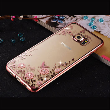 Rhinestones Soft TPU Cases For Samsung Galaxy A3 A5 2017 Case Galaxy J5 J1 J3 2016 Case Samsung Galaxy S7 S6 edge S3 S8 S5 Case