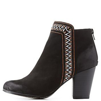 QUPID TRIBAL-TRIM BOOTIES