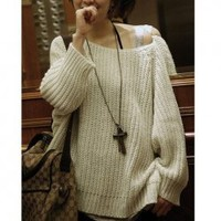 Autumn/Winter Fashion Wide Boat Neck Cream-Colored Netted Sweater China Wholesale - Sammydress.com
