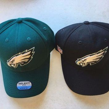 CREYONC. BRAND NEW PHILADELPHIA EAGLES BLACK OR GREEN REEBOK CURVED BRIM ADJUSTABLE HAT