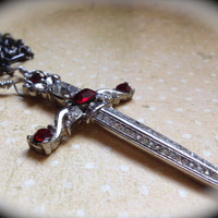 Rare vintage ruby red rhinestone sword necklace