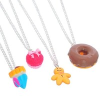 MJartoria Best Friends Forever Christmas Cookies Friendship Necklaces Set of 4