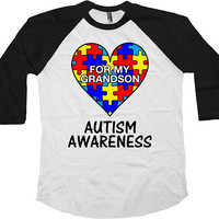 Autism Grandpa Shirt Grandma T Shirt Autism Awareness TShirt Support Gifts For Grandparents Puzzle Piece For My Grandson Baseball Tee-SA1038