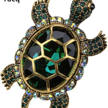 Yacq Turtle Tortoise Brooch Pin Pendant Summer Crystal Charm Fashion Jewelry Gift Women Girl dropshipping BA15 Gold Silver Color