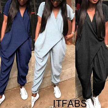 Fashion Women Short Sleeve V neck Loose Clubwear Playsuit 2018 New Casual Party Jumpsuit Romper Trousers Pants