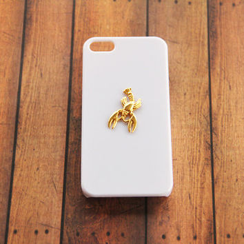 iPhone Case Handmade Vintage iPhone Case Galaxy S5 Lobster Case iPhone 5c White Case iPhone 5 5s Animal Case White & Gold Cancer iPhone 6
