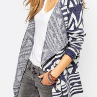 Navy Chevron Pattern Long Sleeve Knitted Cardigan