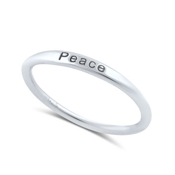 Sterling Silver Thin Stackable Peace Ring