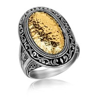 18K Yellow Gold and Sterling Silver Vintage Inspired Oval Hammered Ring P150-64179-7