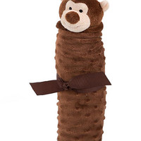 Brown Plush Monkey Rolled Blanket