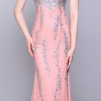 Pink High Neck Tulle Mermaid Long Prom Dresses Beads Back Transparent Sleeveless Floor Length Prom Dress