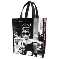 Vandor 92073 Audrey Hepburn Small Recycled Shopper Tote, Black/White/Pink