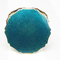 Powder Compact, Stratton Compact Mirror, Teal Accessory, Damaged, Imperfect, Handheld Mirror, Metal Tin, Shimmery, Makeup Case - 1970's