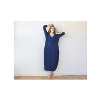 Blue Maxi Knitted dress, Leisure dress , Maxi dress with long sleeves, Winter dress