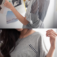 Chiffon Back Striped Top - Mexy  - New fashion clothing & accessories for smaller size women like you - Mexy Shop